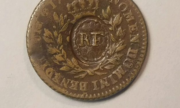 """1767 French Colonies Sou w/""""RF"""" Counterstamp. VF          $230.00"""